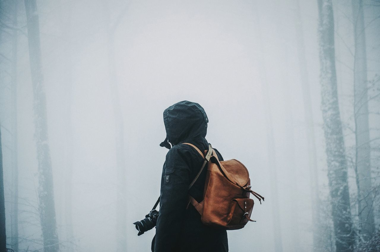 Beautiful stock photos of man, Backpack, Camera - Photographic Equipment, Day, Fog