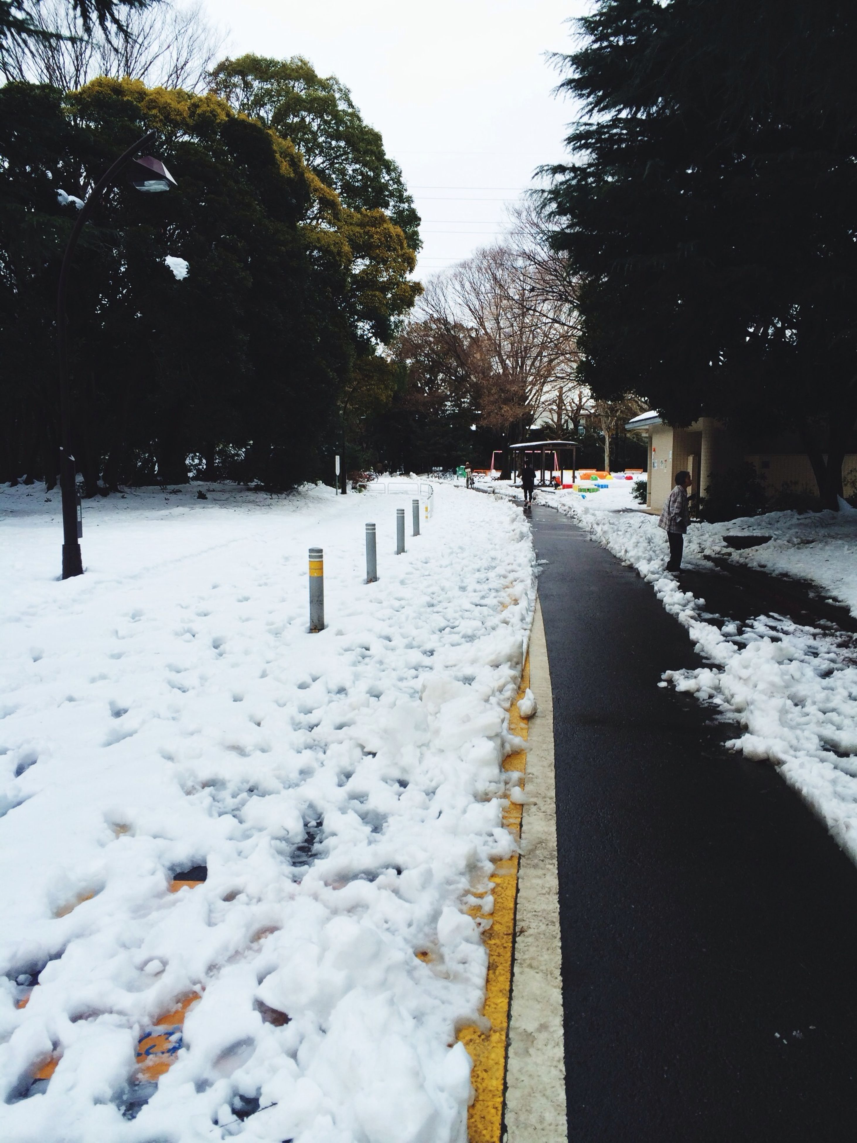 snow, winter, cold temperature, season, weather, covering, the way forward, tree, frozen, white color, covered, diminishing perspective, nature, road, snow covered, vanishing point, street, tranquility, transportation, tranquil scene