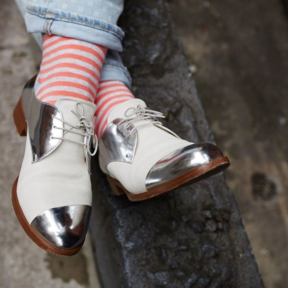 Last week refugee camps, this week NYC Fashion world. Feels like I have two lives. Couldn't help but love the Spunk @ees2012 was sporting today in the studio! @miumiu Miumiu Silver  Shoes Pink Stripes Socks Oxfords Style Miumiushoes Sockstagram Instasocks @sockdaily Socksdaily Womenswear Sockfashion Shoefashion