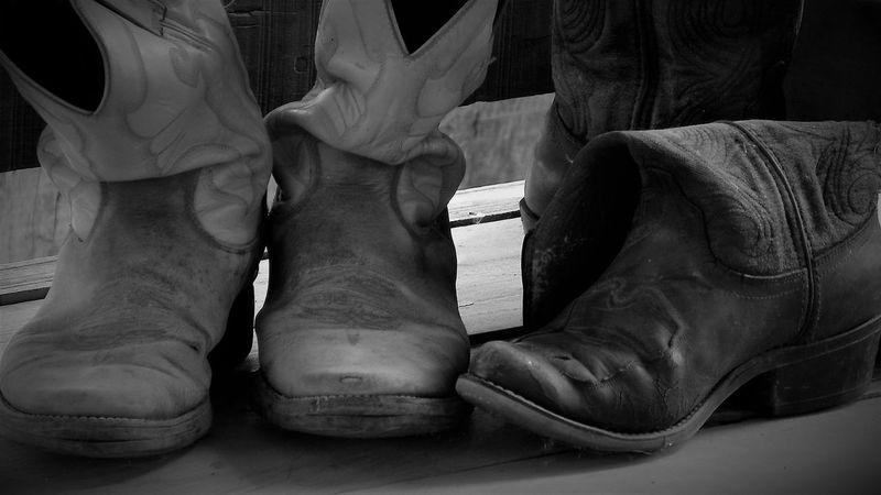 Black & White Cowboy Farm Leather Ranch Life Cowboy Boot Cowgirl Horse Western