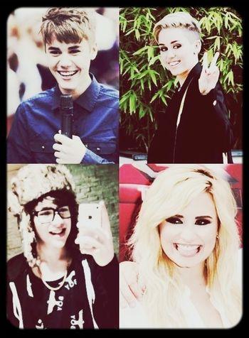 Miley Cyrus Justin Bieber Austin Mahone  Demi Lovato