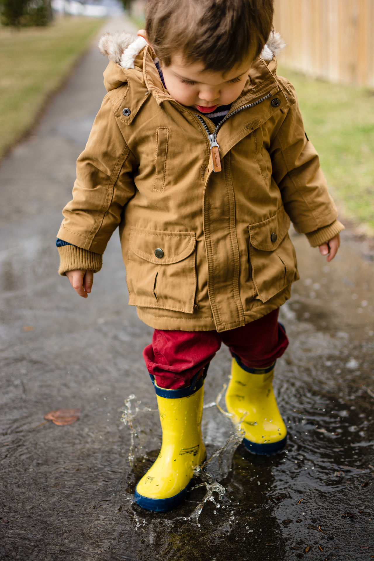 Little boy having fun in a rain puddle Boy Casual Clothing Child Childhood Day Fun Gumboots Jacket Lifestyles Outdoors Puddle Rain Boots Rainy Reflection Season  Splash Spring Toddler  Water Wellington Boots Yellow