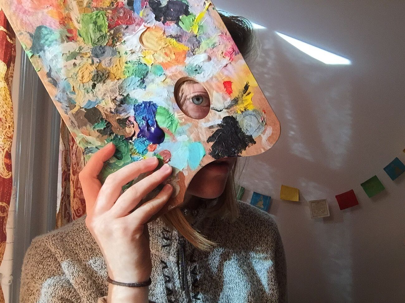 Multi Colored Art And Craft Real People Leisure Activity Lifestyles Indoors  Palette One Person Studio Artist Day People Adult