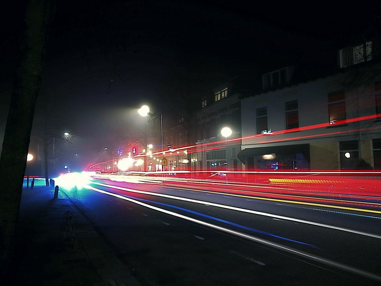 Night Illuminated City Speed City Life Outdoors Scenics Red Light In The Darkness Light Traces