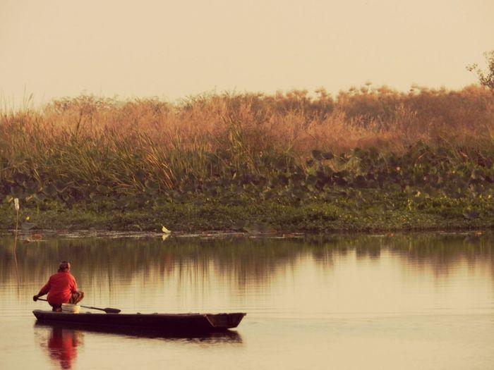 Vintage Photo Fishing Boat Boat Life Outdoors Real People Beauty In Nature One Person Lakeside EyeEm Gallery Eyeem Sakolnakorn