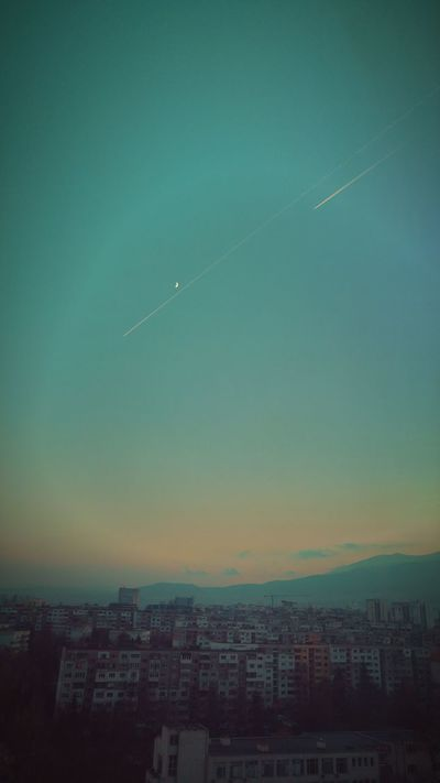 Sky Airplane Flying Nature Beauty In Nature Colors Of Nature View Colorful Multi Colored Tranquility High Angle View Trajectory Trajectory Of The Light Moon Moon Shots