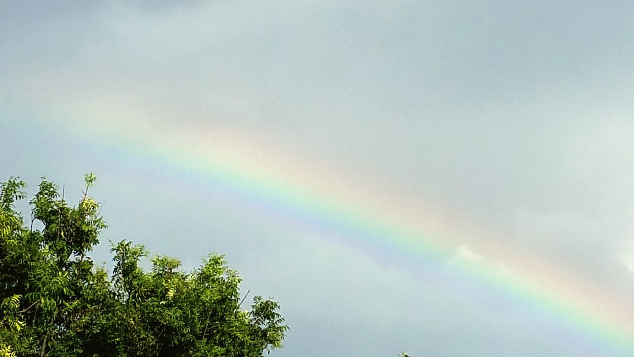 Rainbow Sky Blue Sky Colors Rainbow Colors Beautiful I ♡ Rainbows Clouds Clouds And Sky After The Rain