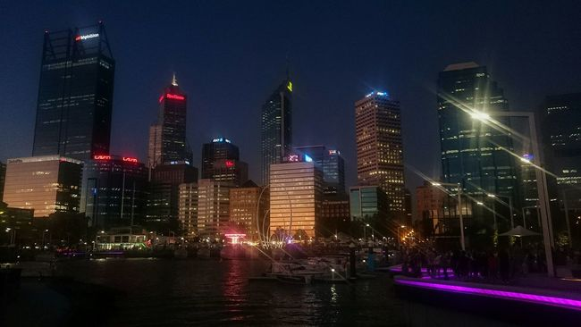 View from the new harbour bridgePerth City Skyline City Harbour Night Lights River Elizabethquay