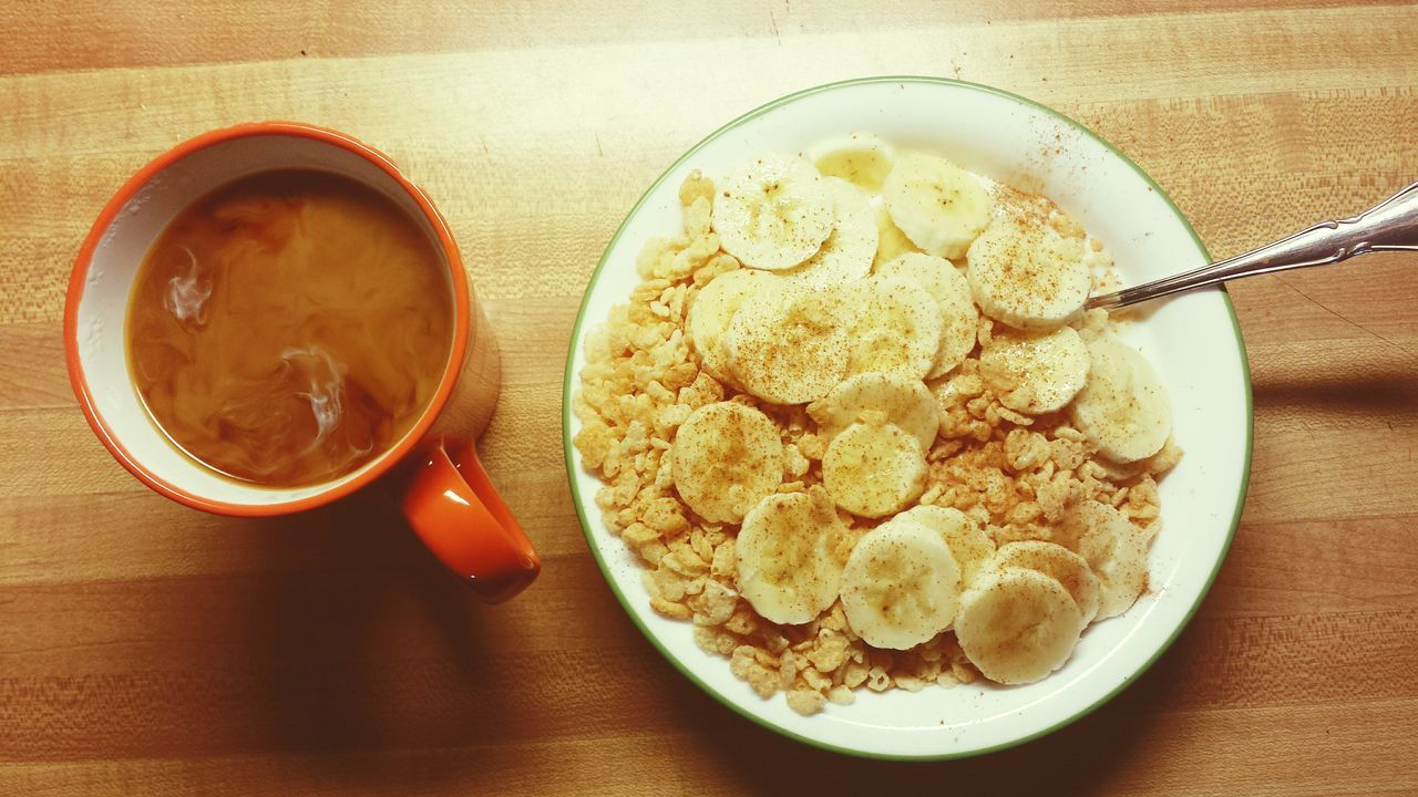 My Favorite Breakfast Moment Simple Coffee Rice Crispy Cereal Breakfast Banana Milk Morning
