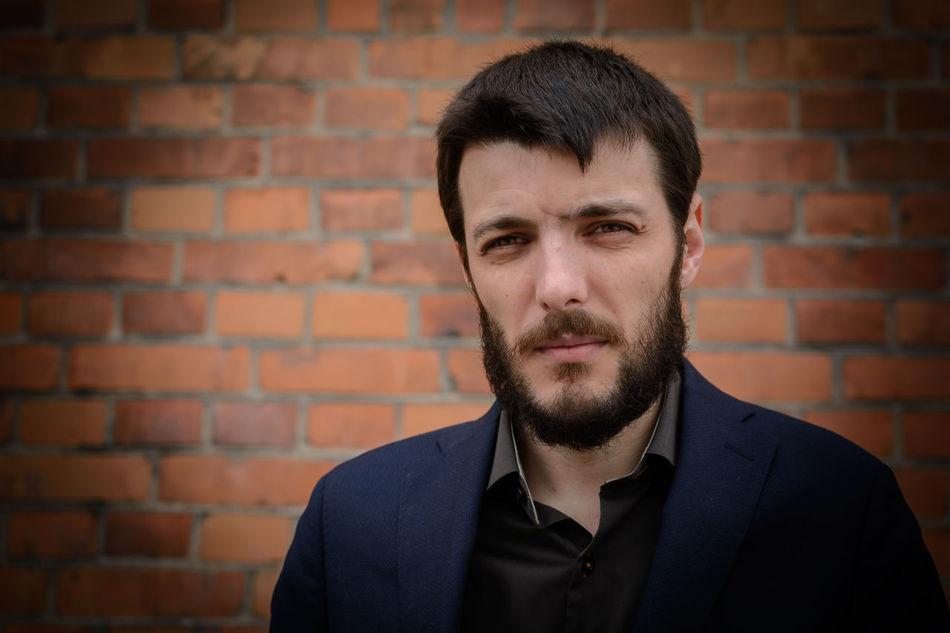 Beautiful stock photos of mustache, 25-29 Years, Black Hair, Brick Wall, Caucasian Ethnicity