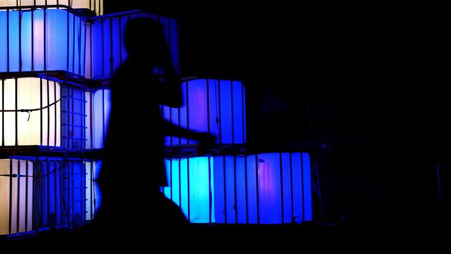 Silhouette Blue Dark Night Sky Outdoors Electric Light Light Cube Cubes & Light Illuminated Dark Unrecognizable Person Silhouette Profile Men Jardin Du Plaisir NightSnaps Outside Nature In Front Of Tranquility Part Of Zürifäscht 2016 Impressions |6| the shadow caller