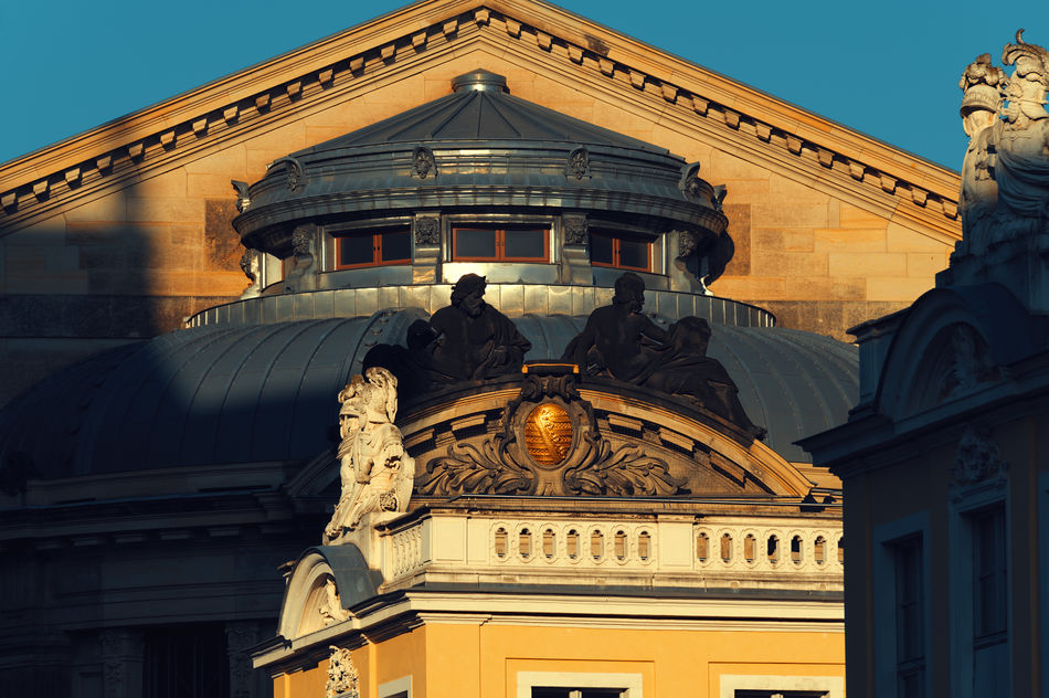 The Cosel Palace in Dresden Architecture Architecture Baroque Building Exterior Built Structure City Day Dresden Eastgermany Germany Gold Colored History Light And Shadow Morning Sun Outdoors Palace Saxony Statue Travel Destinations