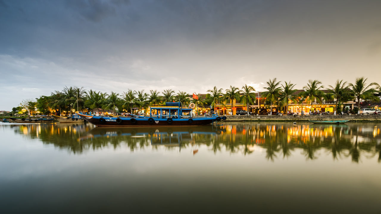 Arrival Boat Business Finance And Industry Cloud Day Hoi An Landscape Nautical Vessel No People Outdoors Reflection Sky Tranquility Travel Travel Destinations Tree Vacations Vietnam Water