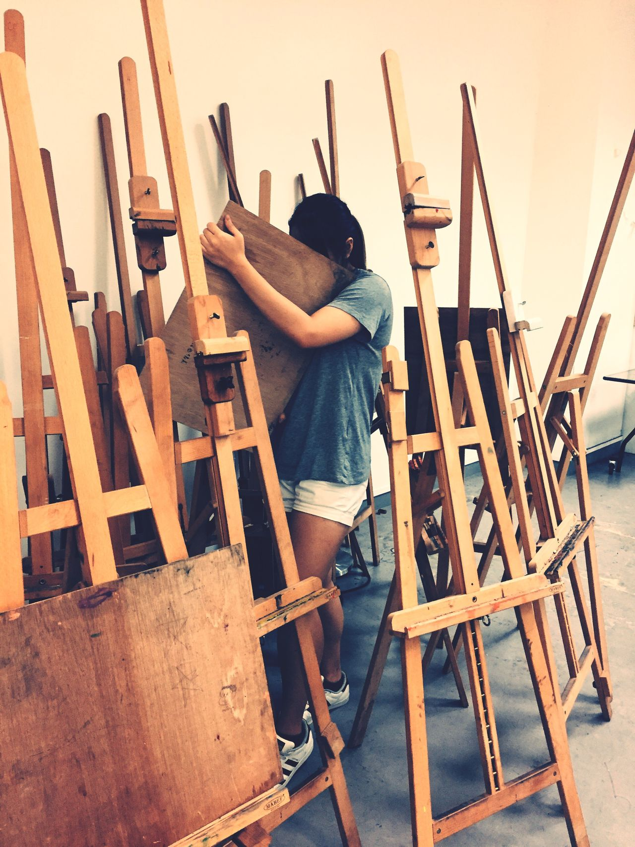 Art And Craft Paintbrush Easel Creativity Artist Lifestyles Sitting Wood - Material Chair Artist's Canvas Indoors  Day One Person Studio Painter - Artist Workshop People