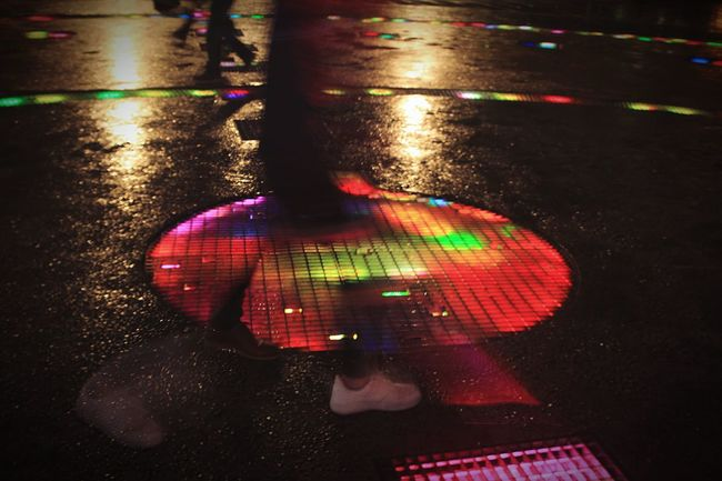 Color Wheel Streetphotography Nightphotography Reflective Surface Colorful Colors Floor Lightings Taking Photos Passerby Guangzhou Mall Of The World China Photography In Motion