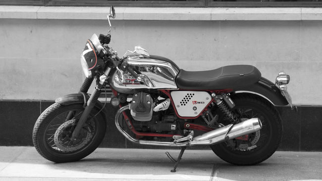 Caferacer Caferacerculture Caferacers Motorcycle Motorbike London Selective Color Red Blackandwhite Cafe Chrome