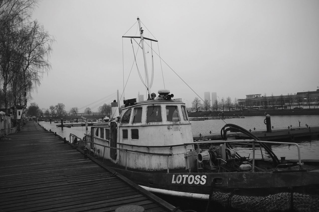 Port Transportation Mode Of Transport Old Water Clear Sky Outdoors Built Structure Sky Day No People City Tree Riga Latvia Boat Old Boat Blackandwhite Finding New Frontiers