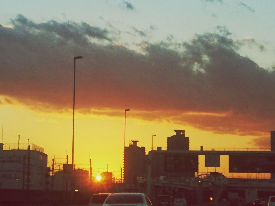 さあ帰ろうか。 夕日が綺麗だー! 夕日が綺麗