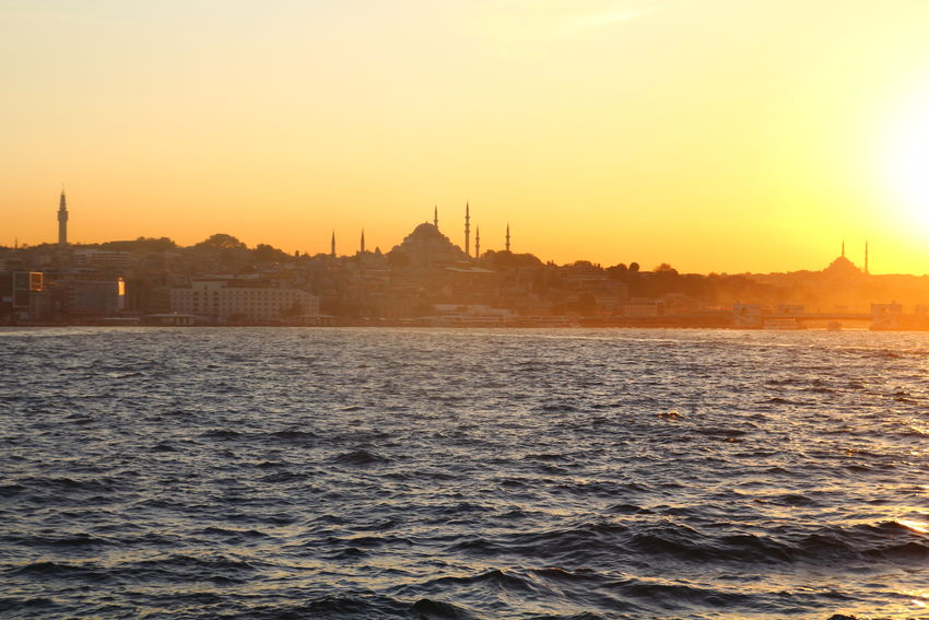 Architecture Built Structure City Eminönü/ İstanbul Istanbul Orange Color Sky Sun Sunset Tourism Water