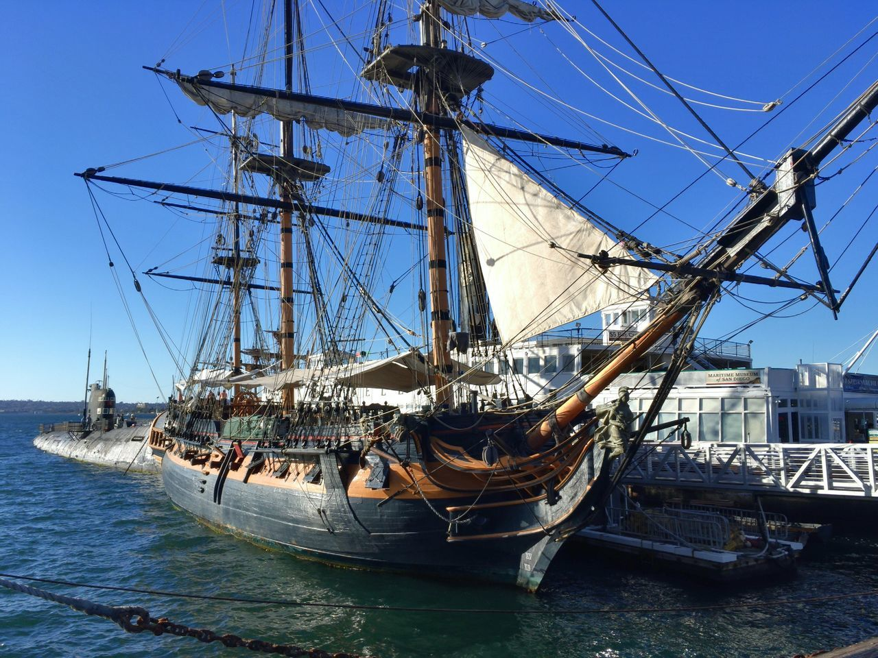 The Star of India - San Diego, United States 2016 Antique Beauty In Nature Clear Sky Day Mast Mode Of Transport Moored Nature Nautical Vessel No People Old Boat Outdoors Rigging Sailboat Sailing Ship Sea Sky Stationary Tall Ship Transportation Water