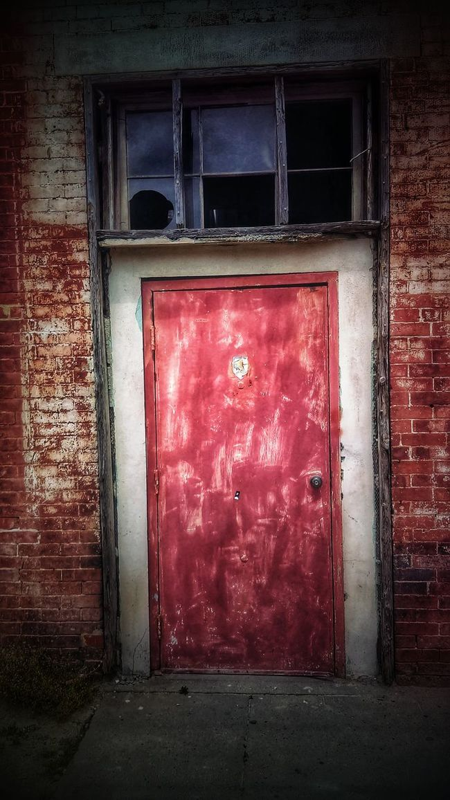 I See A Red Door... Abandoned Buildings Abandoned & Derelict Doors Abandoned Places AMPt - Street AMPt - Abandon Red Rusty Brick Wall Brick Building Broken Broken Glass