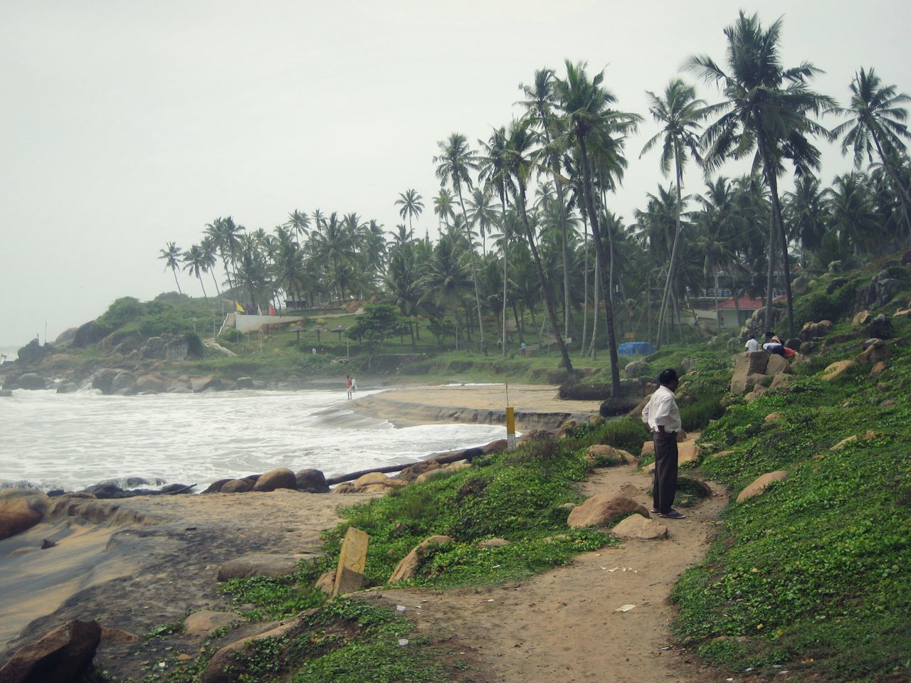 Beach Nature Tropical Coastline Day Outdoors People One Person Adult Non Recognizable Person Cloudy Day Palm Trees Lush Green Rocky Coast in Tiruvanthapuram Trivandrm Kerala India