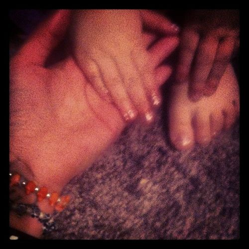 My baby's little feet I did her toe's and nails Gel Mommy &Daughter Pamper Princess Love You♥️???