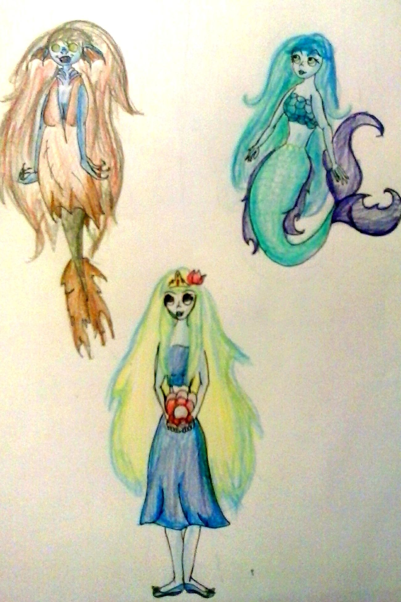 Three kinds of mermaids: undead, race and goddess Mermaid Undead Goddess Race Of Creatures Fabulous Creatures Sea Creatures Art Drawing Creativity