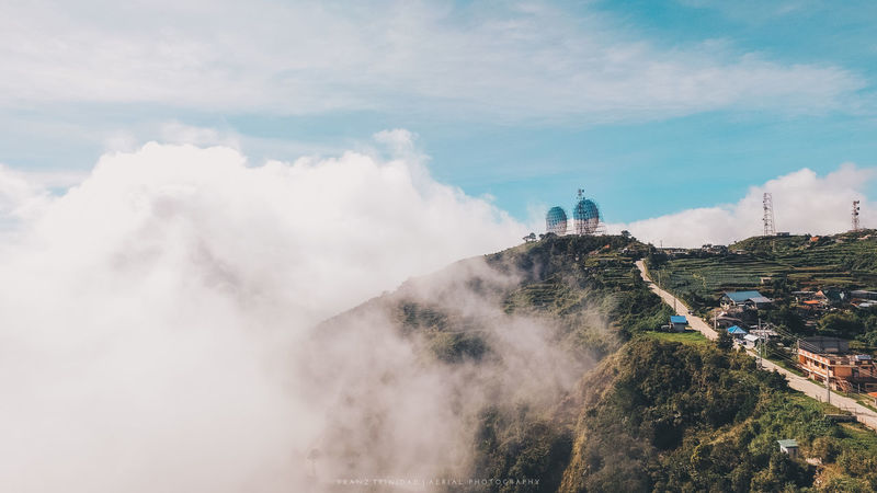 transmitter dish and clouds atop the mountain of tuba, benguet Aerial Shot Satellite View Aerial Aerial Photography Aerial View Architecture Beauty In Nature Cloud - Sky Day Landscape Nature No People Outdoors Scenics Sky Travel Destinations Tree Water