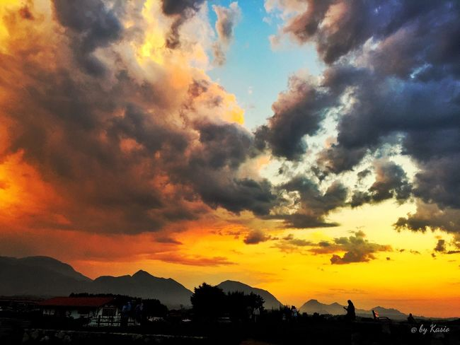 Sunset Orange Color Beauty In Nature Mountain Tranquil Scene Dramatic Sky Cloud - Sky Nature Sky Outdoors Atmospheric Mood Romantic Sky Sky_collection Color Photography The Great Outdoors - 2016 EyeEm Awards EyeEm Best Shots Capture The Moment