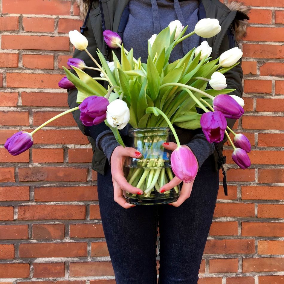 Tulips to go...flowers Bouquet Day Flower Arrangement Flower Head Flowers_collection Gift Holding Multi Colored Outdoors Standing Tulips Tulips🌷 Waiting