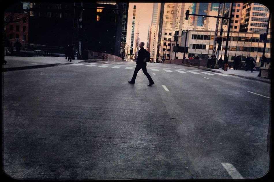Tuesday morning, Chicago. City Street One Person Full Length Built Structure Men People Building Exterior Adults Only Standing Only Men One Man Only Architecture Outdoors Adult Young Adult Day Streetphotography Photojournalism Hipstamatic Shootermag My Commute