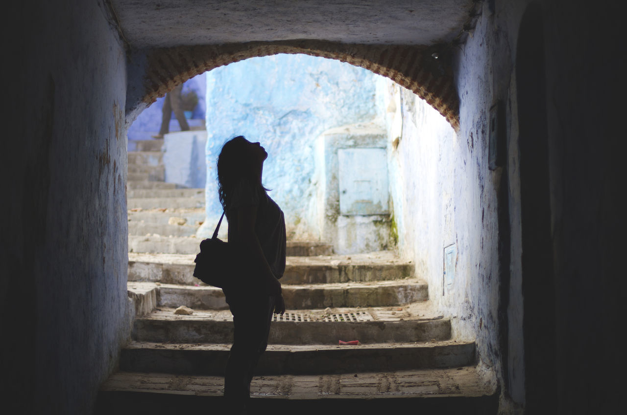 Adult Adults Only Arch Architecture Built Structure Chaouen Day Full Length Indoors  Morocco One Person One Woman Only Only Women People Real People Silhouette Travel Travel Destinations Window Women The City Light