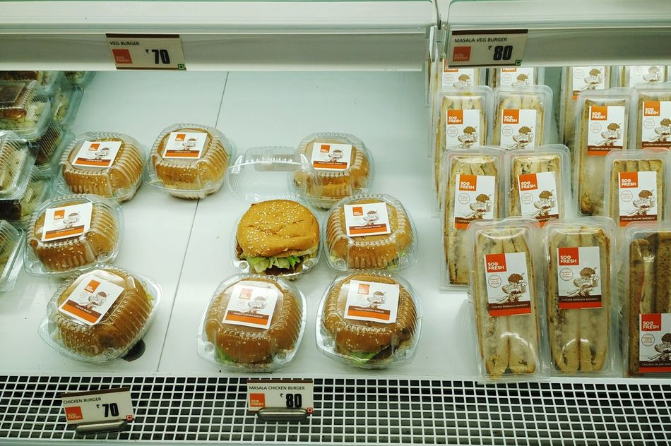 SOO FRESH packaged chicken burgers and sandwiches for sale at Big Bazaar in Mall De Goa. SOO FRESH Chicken Burgers Sandwiches Burgers Veg Non-veg Packaged Burger Sandwich Chilled Shelf Shelf Life Sale Offer Price Discount Big BazaarShopping Mall Supermarket Market Food Technology Preserved