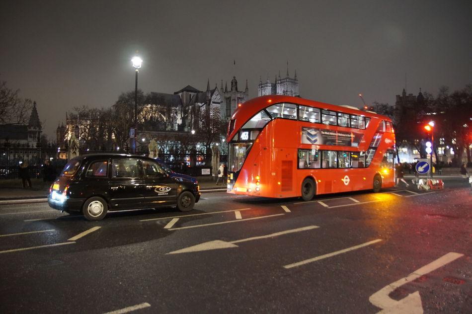 City London London At Night  London Bus London Taxi Night Road Transportation
