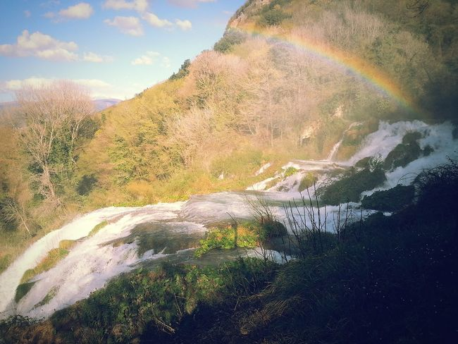 Motion Mountain Scenics Beauty In Nature Waterfall Nature Tranquil Scene Flowing Water Idyllic Flowing Remote Water Non-urban Scene Sky Multi Colored Day Tranquility ar Outdoors Power In Nature Cloud - Sky Arcobaleno Outdoors Power In Nature Cloud - Sky Arcobaleno  Cascata_delle_Marmore Cascata