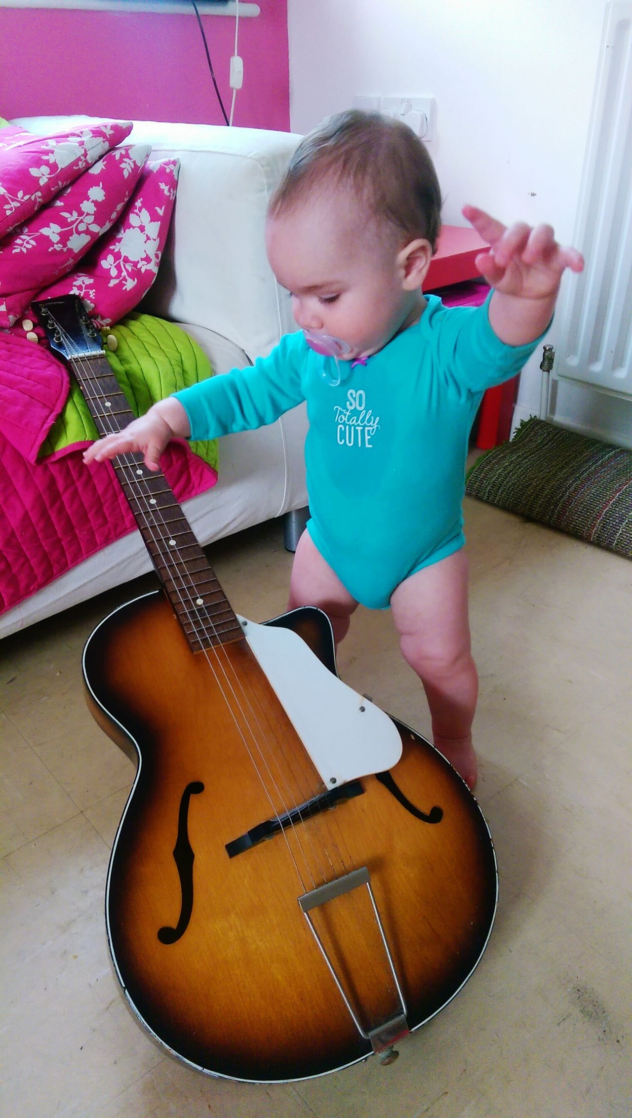 Guitar Playing One Person Music Baby Domestic Life Pacifier Dummy Cute