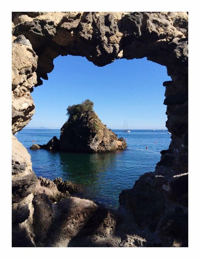 Rock Boats Lifebuoy Blue Enchanting Italy Ischia Scogli Di Sant'anna Sea Heart