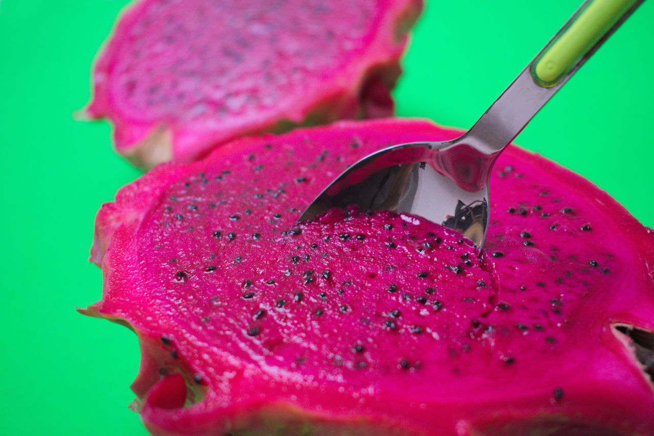 Bright Colors Clean Close-up Color Contrast Color Surge Diet Dragon Fruit Exotic Fruits Fitness Food Fresh Produce Freshness Fruit Green Green Color Healthy Healthy Eating Minimalism Neon Pink Pink Color Studio Shot Tropical Fruits
