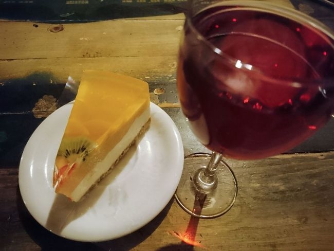 Drink Cake♥ Cake Time Dessert Sweet Food Table Wood - Material Food And Drink Food No People Alcohol Wine Red Wine Rose Wine Italy Wine Restorant Plate Glass 🍷 Wine Indoors  Comfort Food Day Evening Meetings Sony Xperia Photography.
