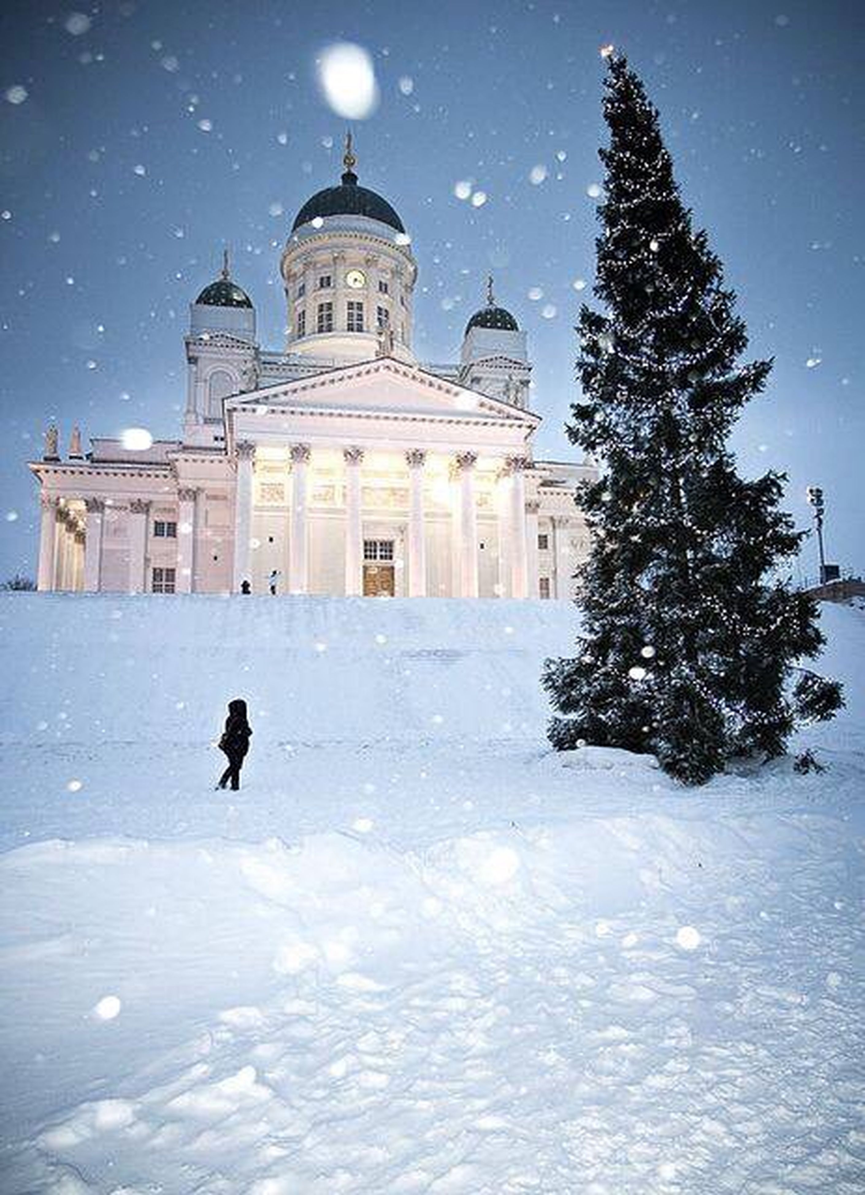 snow, winter, cold temperature, season, building exterior, architecture, built structure, weather, covering, sky, bare tree, walking, tree, frozen, white color, full length, religion, church