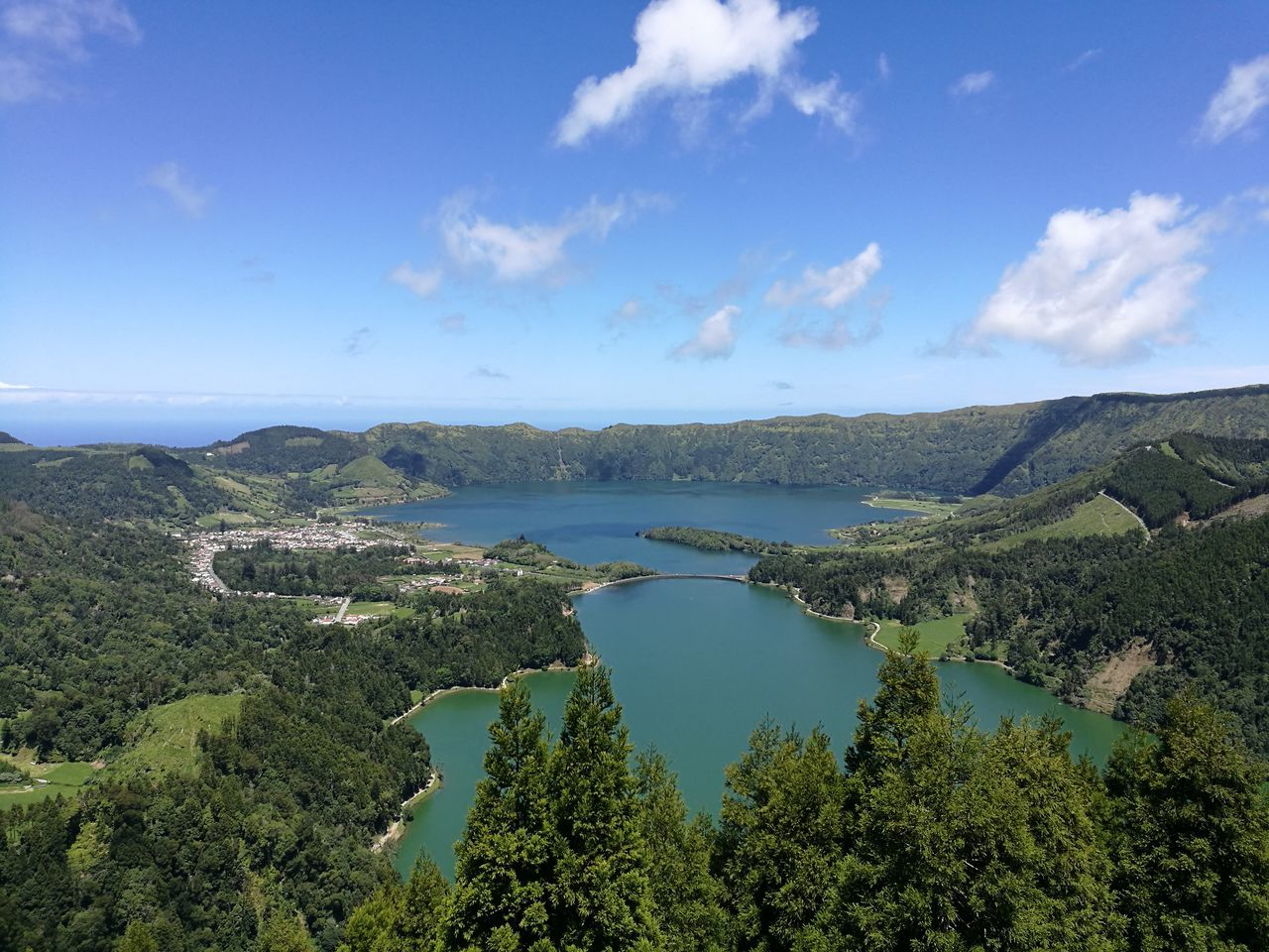 Water Lake Landscape Sky Outdoors Scenics Beauty In Nature Nature View From Above Aerial Photography Aerial View Mountain Forest Rural Scene Azores Travel Destinations Horizon Over Water Clear Sky Tranquility High Angle View Travel Panoramic Photography Setecidades Lagoon The Great Outdoors - 2017 EyeEm Awards