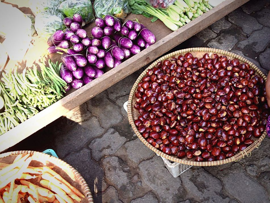 Sayur mayur (vegetables) Jengkol Terong Kacang Eggplant Vegetables Traditional Market Field High Angle View