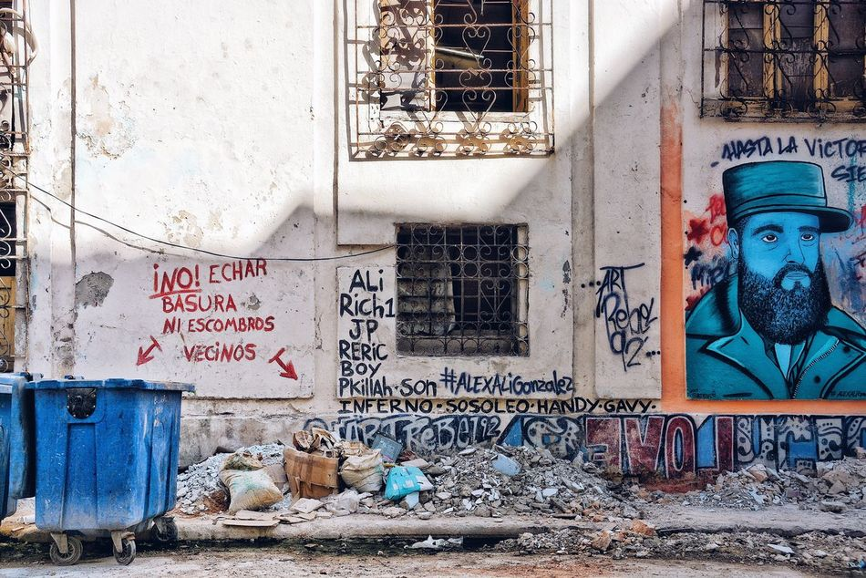 Do NOT throw away garbage neighbors. Graffiti Architecture Built Structure Building Exterior Street Art Abandoned Garbage City Street Streetphotography Cuba Havana Wall Break The Mold City Life
