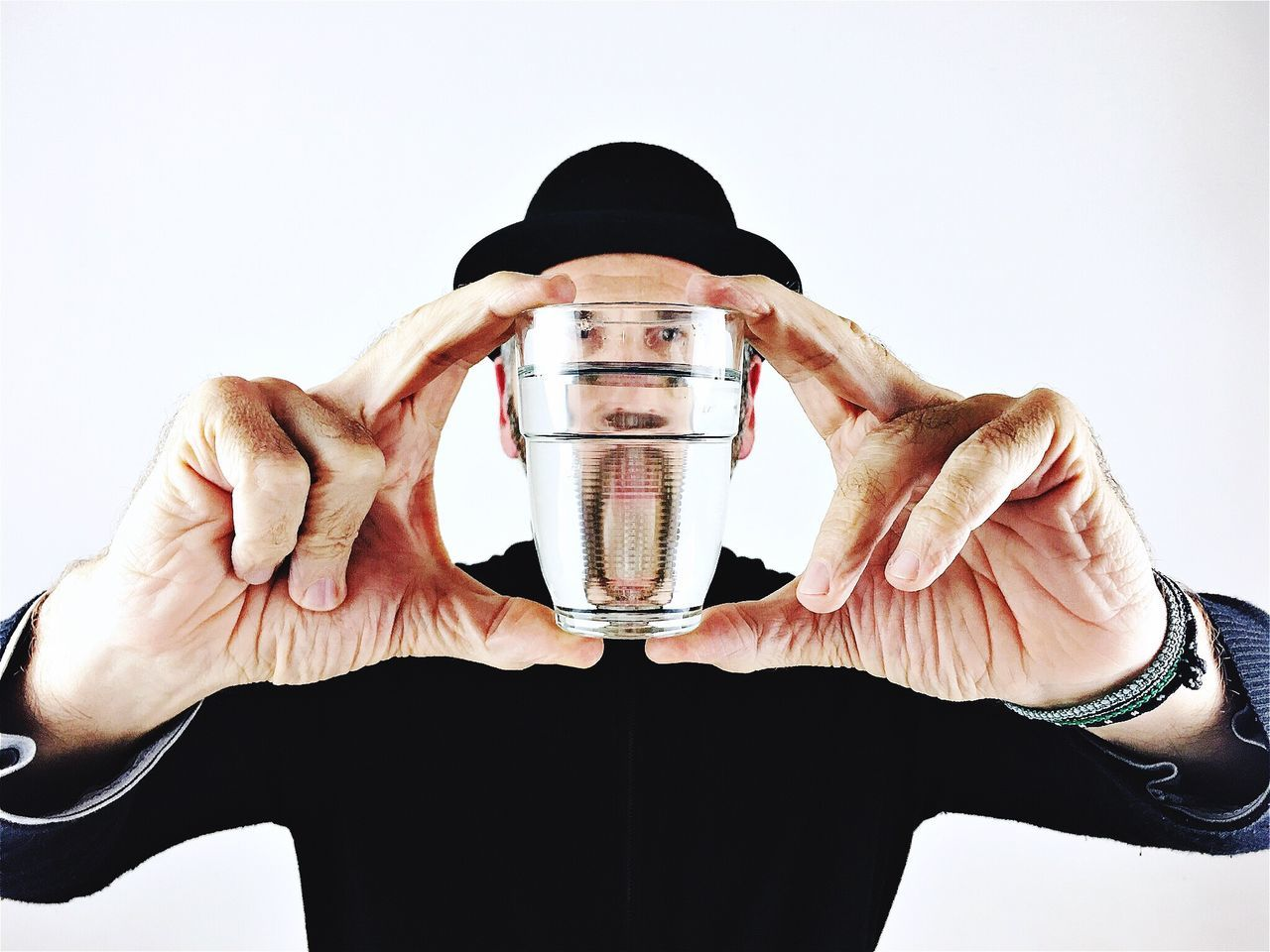 Write Something About You EyeEmBestPics Market Eye4photography  Men Portrait One Person Fantasy Human Hand Headshot White Background Front View Real People Water Glass Conceptual