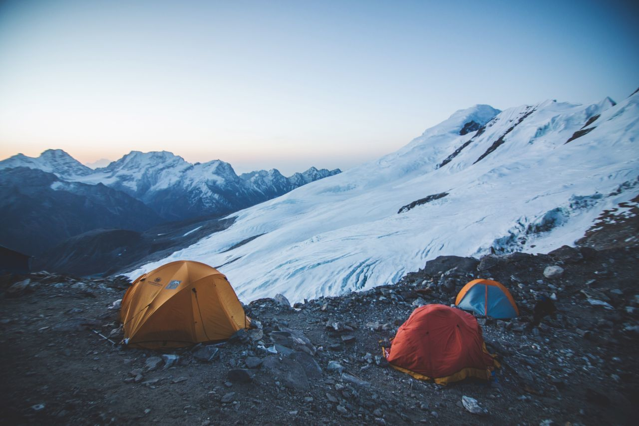 The high camp on Mera Peak at 4am (5700m) ... right befor I hiked up to the summit with my friend Roland. It was magical to feel the calm Himalayan atmosphere in the early morning. The afternoon is usually cloudy with high wind speeds. Tent Sunrise Nepal Himalayas Experience Magical Friend Hiking Glaciers Nature