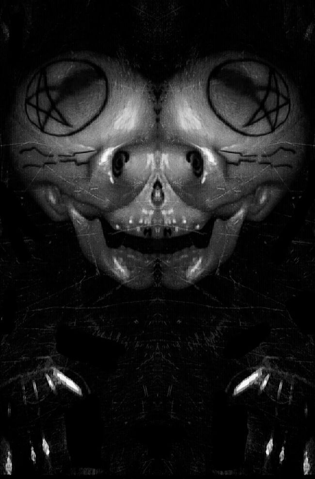 (A Trophy 1of2)***** I can't stand my laughter as they cry. My soul brings tears to angelic eyes. And miles away my mother cries. Omnipotence, nurturing malevolence...-Davey Havok Darkart Occult Blackandwhite Skulls Blancoynegro Love EyeEm Best Edits Black And White NEM BadKarma Skulldiggery