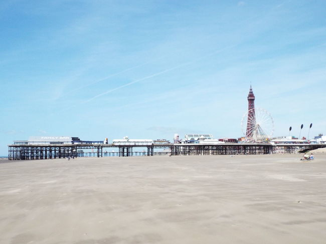 Blackpool Beach Blackpool Tower Blackpool Central Pier The Essence Of Summer Summertime Summer 2016 Pier Sand Beach Blue Sky Blue Yellow Tourist Attraction  Tourism Tourists Beach Photography Beachphotography People On The Beach