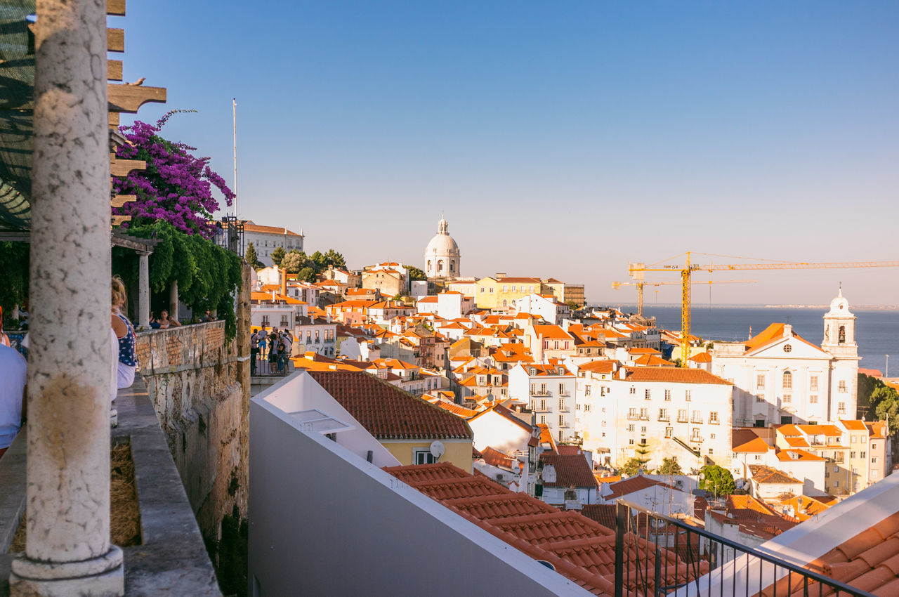 Architecture Blue Building Exterior Built Structure City City Life Cityscape Clear Sky Day Elevated View Lisboa Lisbon Nature No People Outdoors Residential Building Residential District Residential Structure Roof Sky Sunny Town TOWNSCAPE