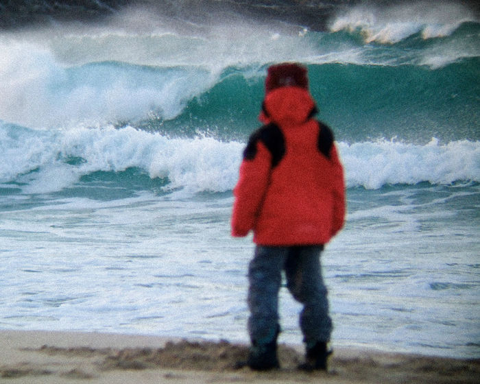 Beach Beauty In Nature Boy Crashing Waves  Day Epic EyeEm Best Shots In Awe In Awe Of Nature Large Waves Nature Outer Hebrides Person Red Scenics Scotland Sea Shore Standing Telephoto Vacations Water Wave Young Boy Young Boy Big World